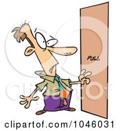 Royalty Free RF Clip Art Illustration Of A Cartoon Businessman Facing A Door Without A Handle by toonaday