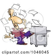 Royalty Free RF Clip Art Illustration Of A Cartoon Businessman By A Crazy Copier by toonaday