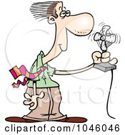 Royalty Free RF Clip Art Illustration Of A Cartoon Businessman Cooling Off In Front Of A Fan