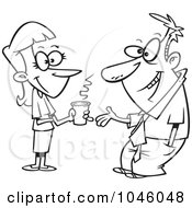 Royalty Free RF Clip Art Illustration Of A Cartoon Black And White Outline Design Of A Woman And Businessman Having A Conversation by toonaday