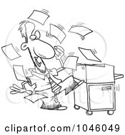 Royalty Free RF Clip Art Illustration Of A Cartoon Black And White Outline Design Of A Businessman By A Crazy Copier by toonaday