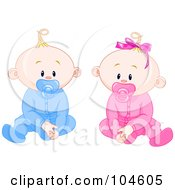 Boy And Girl Baby Twins With Pacifiers Sitting Up And Facing Front