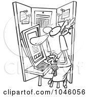 Royalty Free RF Clip Art Illustration Of A Cartoon Black And White Outline Design Of A Businessman Crammed In A Cubicle