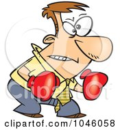 Royalty Free RF Clip Art Illustration Of A Cartoon Confrontational Businessman Wearing Boxing Gloves