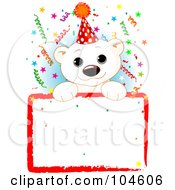 Royalty Free RF Clipart Illustration Of An Adorable Polar Bear Wearing A Party Hat And Looking Over A Blank Sign With Colorful Confetti