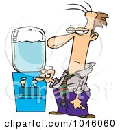 Royalty Free RF Clip Art Illustration Of A Cartoon Businessman By A Water Cooler