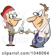 Royalty Free RF Clip Art Illustration Of A Cartoon Woman And Businessman Having A Conversation by toonaday