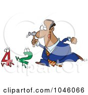 Royalty Free RF Clip Art Illustration Of A Cartoon Black Businessman Crunching Numbers