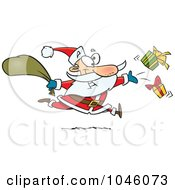 Royalty Free RF Clip Art Illustration Of A Cartoon Santa Tossing Gifts