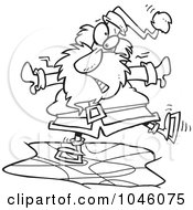 Royalty Free RF Clip Art Illustration Of A Cartoon Black And White Outline Design Of Santa Ice Skating by toonaday