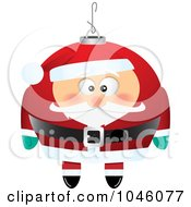 Royalty Free RF Clip Art Illustration Of A Cartoon Black And White Outline Design Of A Santa Xmas Ornament