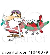 Royalty Free RF Clip Art Illustration Of A Cartoon Pilot Santa