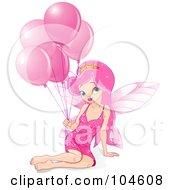Pretty Fairy Princess Girl With Long Pink Hair Sitting With A Bunch Of Pink Birthday Balloons