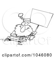 Royalty Free RF Clip Art Illustration Of A Cartoon Black And White Outline Design Of Santa Carrying A Blank Sign