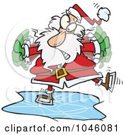 Royalty Free RF Clip Art Illustration Of A Cartoon Santa Ice Skating by toonaday