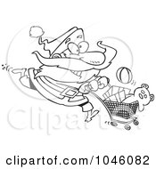 Royalty Free RF Clip Art Illustration Of A Cartoon Black And White Outline Design Of Santa Shopping