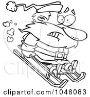 Royalty Free RF Clip Art Illustration Of A Cartoon Black And White Outline Design Of A Sledding Santa