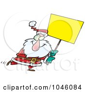 Cartoon Santa Carrying A Blank Sign