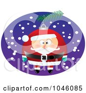 Royalty Free RF Clip Art Illustration Of A Cartoon Black And White Outline Design Of A Santa Christmas Ornament
