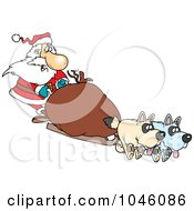 Royalty Free RF Clip Art Illustration Of A Cartoon Santa Mushing by toonaday