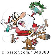Royalty Free RF Clip Art Illustration Of A Cartoon Joyous Santa Riding A Reindeer by toonaday