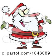 Royalty Free RF Clip Art Illustration Of A Cartoon Welcoming Santa