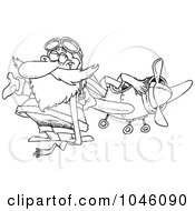 Royalty Free RF Clip Art Illustration Of A Cartoon Black And White Outline Design Of A Pilot Santa