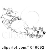 Royalty Free RF Clip Art Illustration Of A Cartoon Black And White Outline Design Of Santa Mushing