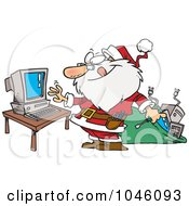 Royalty Free RF Clip Art Illustration Of A Cartoon Computer Repair Santa