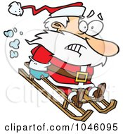 Royalty Free RF Clip Art Illustration Of A Cartoon Sledding Santa by toonaday