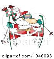 Royalty Free RF Clip Art Illustration Of A Cartoon Skiing Santa by toonaday