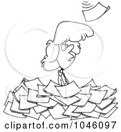 Royalty Free RF Clip Art Illustration Of A Cartoon Black And White Outline Design Of A Woman Standing In A Pile Of Paperwork