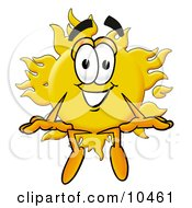 Clipart Picture Of A Sun Mascot Cartoon Character Sitting by Toons4Biz