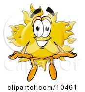 Sun Mascot Cartoon Character Sitting