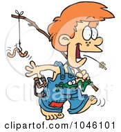 Royalty Free RF Clip Art Illustration Of A Cartoon Country Boy Carrying A Fishing Pole