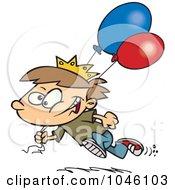 Royalty Free RF Clip Art Illustration Of A Cartoon Birthday Boy Running With Balloons