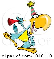 Royalty Free RF Clip Art Illustration Of A Cartoon Party Parrot With A Horn