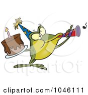 Royalty Free RF Clip Art Illustration Of A Cartoon Birthday Frog Holding A Cake And Using A Noise Maker by toonaday