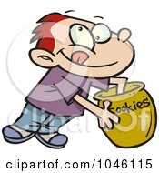 Royalty Free RF Clip Art Illustration Of A Cartoon Boy Reaching In A Cookie Jar by toonaday