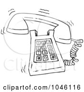 Royalty Free RF Clip Art Illustration Of A Cartoon Black And White Outline Design Of A Ringing Desk Phone