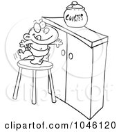Royalty Free RF Clip Art Illustration Of A Cartoon Black And White Outline Design Of A Baby Trying To Get A Cookie Jar