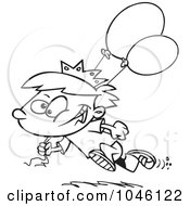 Royalty Free RF Clip Art Illustration Of A Cartoon Black And White Outline Design Of A Birthday Boy Running With Balloons