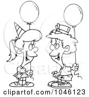 Royalty Free RF Clip Art Illustration Of A Cartoon Black And White Outline Design Of A Birthday Boy And Girl With Balloons