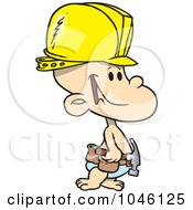 Royalty Free RF Clip Art Illustration Of A Cartoon Construction Baby Boy by toonaday