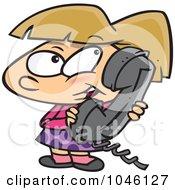 Royalty Free RF Clip Art Illustration Of A Cartoon Girl Talking On A Phone