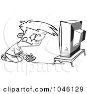 Royalty Free RF Clip Art Illustration Of A Cartoon Black And White Outline Design Of A Video Game Boy by toonaday