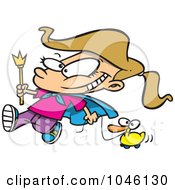 Royalty Free RF Clip Art Illustration Of A Cartoon Parade Girl Pulling A Duck by toonaday