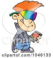 Royalty Free RF Clip Art Illustration Of A Cartoon Cool Kid Carrying A Smart Phone