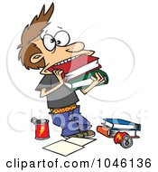 Royalty Free RF Clip Art Illustration Of A Cartoon Boy Cramming Books In His Mouth by toonaday