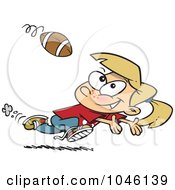 Royalty Free RF Clip Art Illustration Of A Cartoon Running Girl Catching A Football